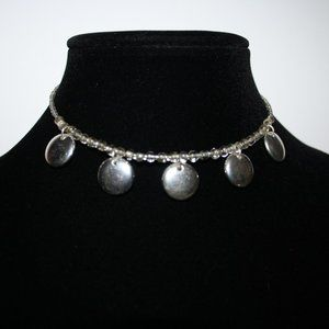 Silver coil choker necklace